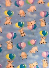 Hoffman Flying Pigs and Balloons Sky Blue 100% cotton Fabric by the yard