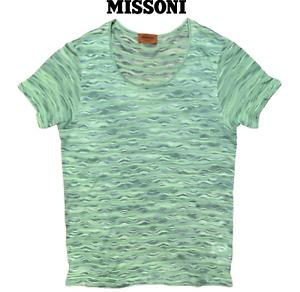 Missoni Men's Wave Pattern Lime Green Viscose Cotton T-Shirt