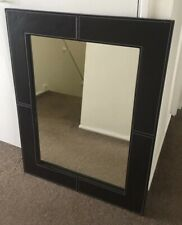 Wall Hung Mirror - Rectangle brown faux leather frame Wall Mirror