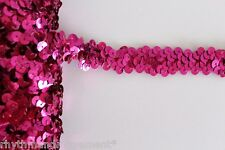 Dance Costume Elastic Sequin Trim - 2 rows stretch Fuchsia Pink 1m
