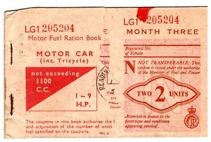 Vintage Petrol Coupon Fuel Ration Book For Motor Car 1100 c.c./1-9 hp. #298