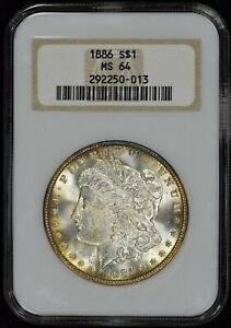 """1886 (P) Morgan $1 NGC MS64 Old """"Fatty"""" Holder - Nicely Toned - PQ!"""