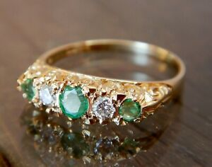 Vintage 9kt Gold Emerald and Diamond Five Stone Ring (VIDEO VIEW)