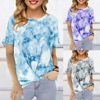 ❤️ Women's Gradient Tie Dye T-Shirt Short Sleeve Tunic Tops O Neck Loose Blouse