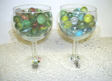 TABLE TOP DECOR WINE GLASSES W/ VINTAGE CAT EYE MARBLES & PEDESTAL CHARMS SET/ 2