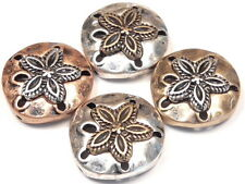 4 - 2 HOLE SLIDER BEADS MIXED METAL TRI COLOR HAMMERED LOOK SAND DOLLAR BEADS