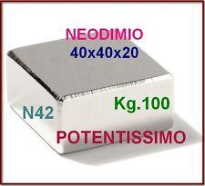 NEODIMIO MAGNETE 40X40X20 mm. 100 KG. CALAMITA CALAMITE MAGNETI Potente