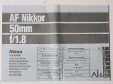Nikon Nikkor 50mm 1:1.8 AIS Instruction Manual Book - Multilingual USED B38 AC2
