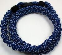 "Kids 18"" Navy White Baseball Stitch Titanium Sports Necklace Tornado Baseball"