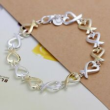 Wholesale 925Sterling Solid Silver Jewelry Gold Kelp Bracelet For Women H047