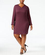 ING Burgundy Plus Size Faux Wrap Lightweight Sweater Dress Size 3X NWT $69