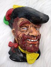 Vintage Pirate Head Chalkware Wall Hanging Decor Buccaneer Smuggler 1960s -1970s