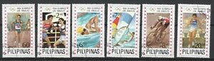 PHILIPPINES 1984 LOS ANGELES SUMMER OLYMPIC GAMES COMP. SET OF 6 STAMPS IN USED