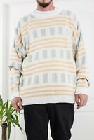 90`s VTG YSL YVES SAINT LAURENT MENS COTTON SWEATER JUMPER GEOMETRIC OVERSIZE L