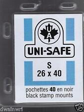 Uni-Safe Prinz Top-Opening S26x40 mm - 40 Black Precut Stamp Mounts German Made