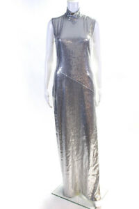 Galvan London Womens Sleeveless High Neck Side Slit Gown Silver Size 6