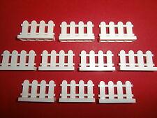 LEGO 10 white FENCES 1x4 nubs new