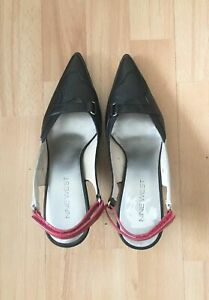 Nine West Black Silver and Red Leather Pointed Slingbacks UK 4 / EU 37 .