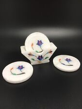 New listing 6 Coffee Tea White Marble Coaster Flower Stone Inlay Work