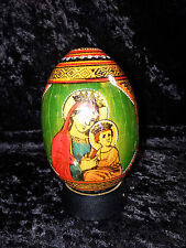 ANTIQUE HAND PAINTED BELARUSSIAN LACQUERED WOOD EGG MADONNA CHILD and JESUS