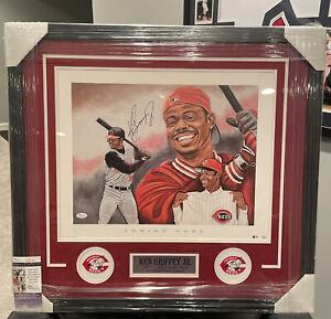 Ken Griffey Jr Autographed Signed Framed Color Print Cincinnati Reds COA JSA