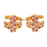Natural Ruby & CZ  Gemstones With 925 Sterling Silver Cufflinks For Men's