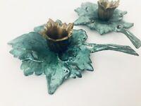 2 Candle Holders w Handle Ornate Leaf Design Vintage Brass Metal Patina Lovely