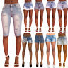 Womens Denim Shorts Ladies Vintage Ripped Mid Waist Jeans Shorts 6 8 10 12 14