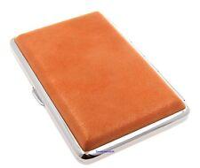 Cigarette Case - Mysmokingshop Orange Marble Leather Chrome King Size - NEW ksc3