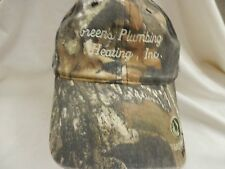 trucker hat baseball cap cool cloth GREENS PLUMBING AND HEATING INC camo rare