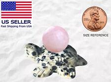 Dalmatian Jasper Sea Turtle and Carved Gemstone Rose Quartz Statue Tortoise New