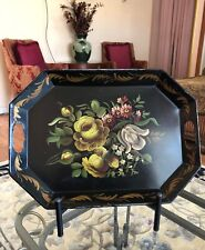 "18"" Vintage Tole Black Tray Painted Olive Green Flowers"