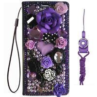 Luxury Leather Flip Bling Diamond Wallet Case Girls' Phone Cover with strap 21