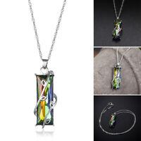 Regenbogen Anhänger Ladys! Zircon Quadrat Kristall Halskette mit Nashorn