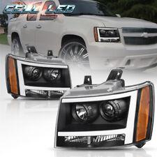 For 07 14 Chevy Avalanchesuburbantahoe Black Led Tube Drl Projector Headlight Fits 2007 Chevrolet Suburban 1500