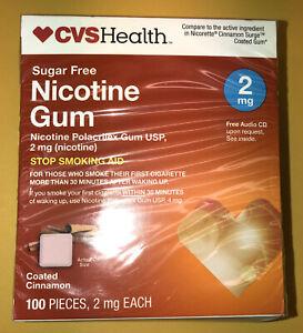 NICOTINE GUM 2 mg CVS HEALTH SUGAR-FREE COATED CINNAMON 100 PIECES EXP.  01/2021