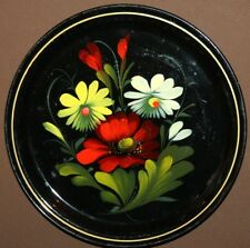 VINTAGE RUSSIAN HAND PAINTED FLORAL METAL TOLE PLATE