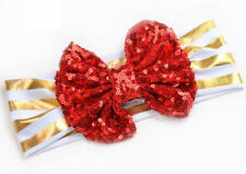 NEW Girls Gold Red Green Sequin Bow Headband Hairband Christmas Holiday