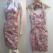 Review sz 6 Pink & Green Floral Halter Dress AS NEW