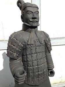 Terrakotta Soldat 193cm (Armee, Soldat, Krieger), lebensgroß, anthrazit, outdoor
