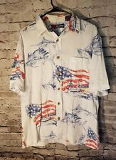 Reel Legends Men's Shirt Button Front Polo American Flag Fishing Size Large t73