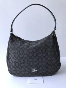 Coach * Women's Bag F29959 SVDK6 Signature Jacquard Hobo Black Smoke