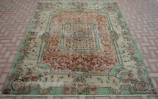 Vintage Ushak Anatolia Rug Muted Color Oushak Handwoven Carpet 7 x 9 ft 7x9 feet