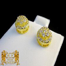 White Simulated Lab Diamond14k Yellow G/P Men's Womens Flower 9 MM Stud Earrings