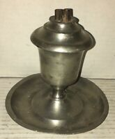 Early New England Pewter Whale Oil Lamp Pedestal Drip Tray Double Burner 1840