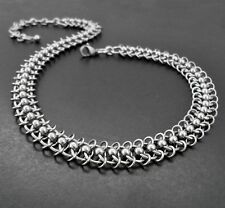 Stainless Steel Centipede Chain Choker Collar Necklace - Handcrafted Chain Mail