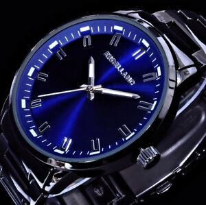 Excellanc Herren Armband Uhr Schwarz Blau im Keramik Look M101
