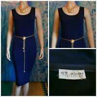 ST. JOHN Collection Santana Knit Navy Blue Dress L 12 14 Sleeveless Sheath