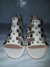 Bebe Denise Flat White Sandal Caged Faux Leather Straps Metal Link Embellishment