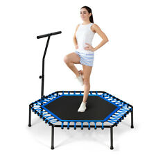 Jumping Fitness Trampolin mit Griff Mini Sport Trampoli Gummiseil Leise 150kg DE